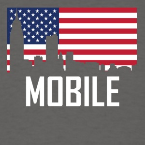 Mobile Alabama Skyline American Flag - Men's T-Shirt