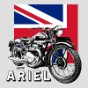 Classic ARIEL motorcycle script and illustration + Union Jack - Men's T-Shirt