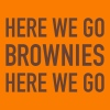 White on Orange Here We Go Brownies Flock Print - Men's T-Shirt