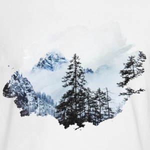 Forest againts mountain peak Watercolor - Men's Long Sleeve T-Shirt