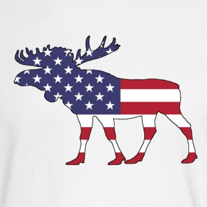 Moose - American Flag - Men's Long Sleeve T-Shirt