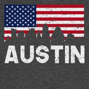 Austin TX American Flag Skyline Distressed - Men's Long Sleeve T-Shirt