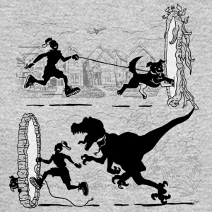 Walking the Dog Running From Dinosaurs - Men's Long Sleeve T-Shirt