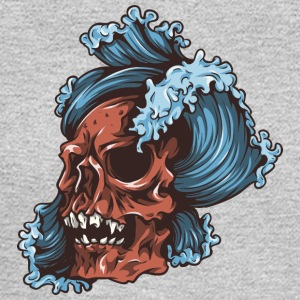 waves_and_red_skull - Men's Long Sleeve T-Shirt