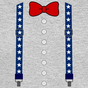 Funny Suspenders American Flag Bowtie Costume - Men's Long Sleeve T-Shirt