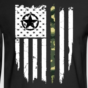 US Army Veteran Military American Flag T-Shirt - Men's Long Sleeve T-Shirt
