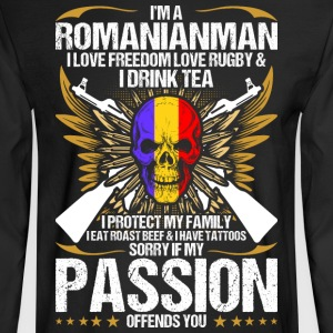 Im A Romanianman I Love Freedom Love Rugby - Men's Long Sleeve T-Shirt