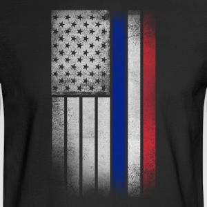 French American Flag - Half French Half American - Men's Long Sleeve T-Shirt