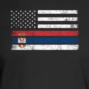 Serbian American Flag - USA Serbia Shirt - Men's Long Sleeve T-Shirt