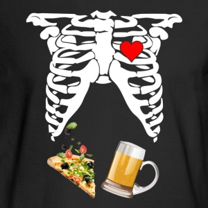 Maternity Skeleton Baby Beer and Pizza - Men's Long Sleeve T-Shirt