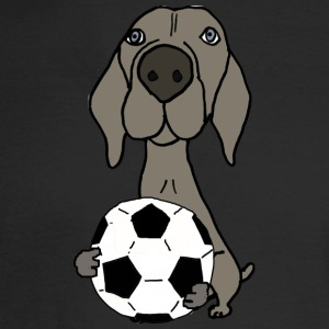 Cool Funky Weimaraner Dog Playing Soccer - Men's Long Sleeve T-Shirt
