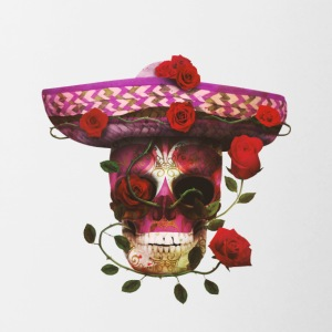 Mexican Skull with roses - Contrast Coffee Mug