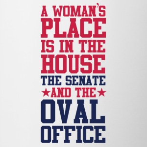 A Woman's Place Is In The House Senate and OOval O - Contrast Coffee Mug