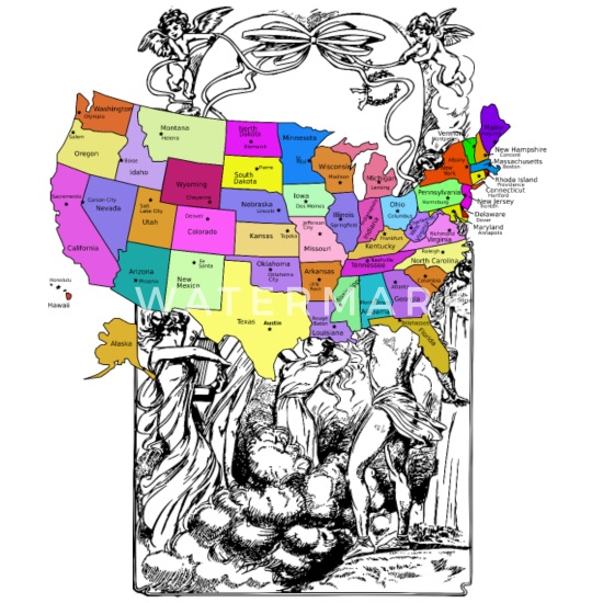 United States Map With Capitals, and State Names Coffee/Tea Mug - white