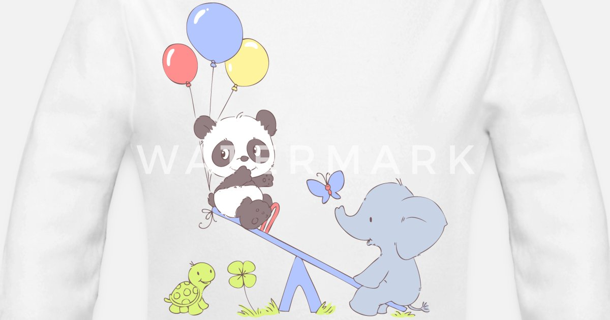 c23cd29cc9 Panda and Elephant on Seesaw Organic Long-Sleeved Baby Bodysuit ...