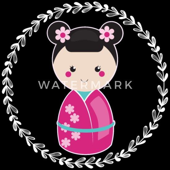 Girls Kokeshi Doll Gift Organic Long Sleeved Baby Bodysuit
