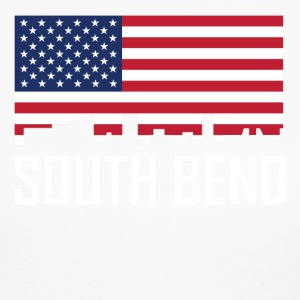 South Bend Indiana Skyline American Flag - Women's Long Sleeve Jersey T-Shirt