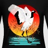 Red Crowned Crane and Setting Sun - Women's Long Sleeve Jersey T-Shirt