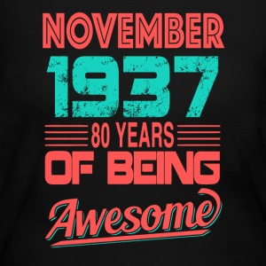 November 1937 80 YEARS Of Being Awesome - Women's Long Sleeve Jersey T-Shirt