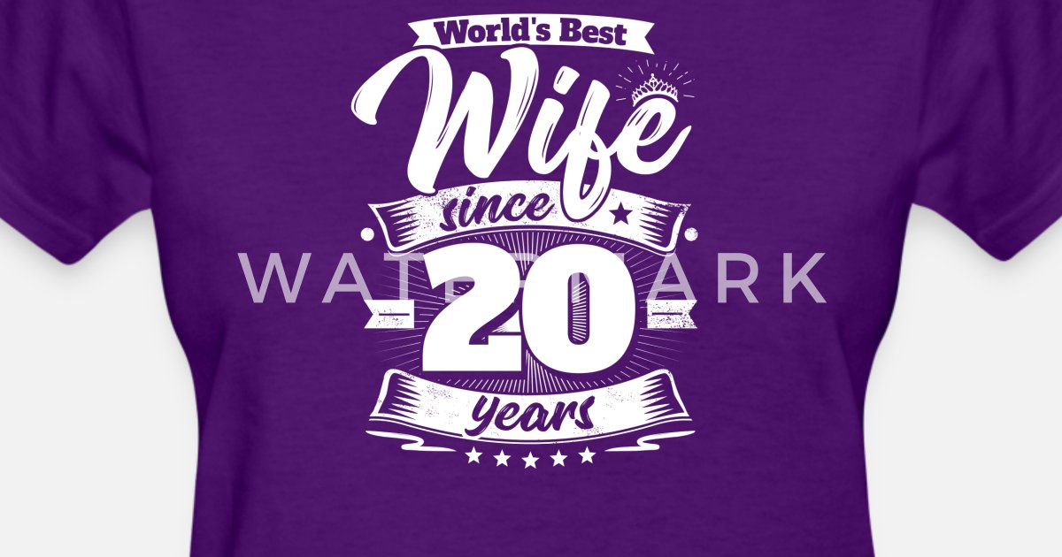 20th Wedding Anniversary Gift For Wife: Wedding Day 20th Anniversary Gift Wife Spouse Women's T
