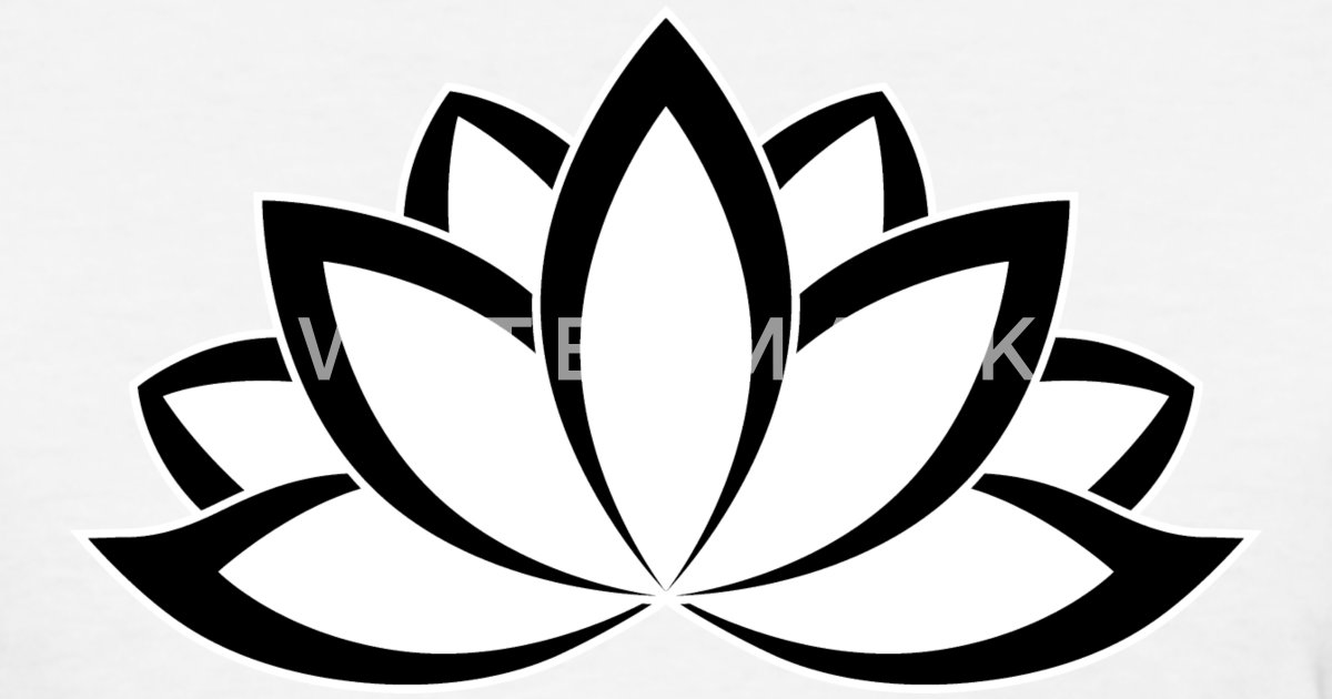 Original Black White Buddhist Symbol Lotus Flower Womens T Shirt