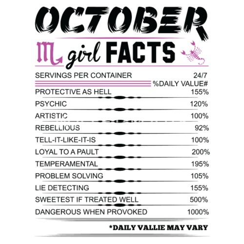 October Girl Facts Scorpio Womens T Shirt Spreadshirt