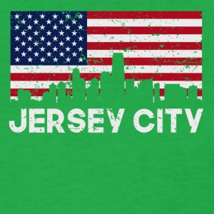 Jersey City NJ American Flag Skyline Distressed - Women's T-Shirt