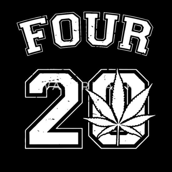 Four 20 420 Pot Leaf Weed Marijuana Ganja High Toke Smoke  Mens Black Hoodie