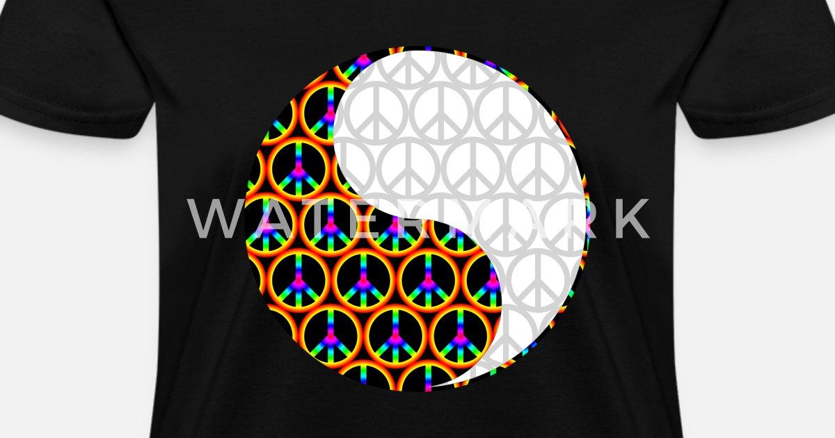 db663d63bfbe Yin Yang Psychadelic Peace Signs Chinese Symbol Women s T-Shirt ...