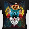 01 Blue Cat King Queen Crown Roses Love Heart - Women's T-Shirt