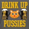Funny DRINK UP PUSSIES Cat College Graphic Tee - Women's T-Shirt