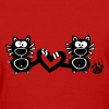 Catpaw Design Heart Couple Couples BFF Cats Cat  - Women's T-Shirt