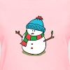cute snowman with snow cap and scarf - Women's T-Shirt
