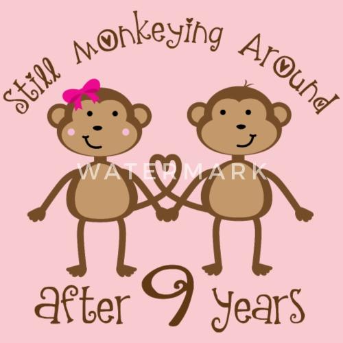 9th Anniversary Monkey Couple Womens T Shirt Spreadshirt