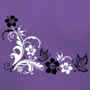 Hibiscus with butterflies - Women's V-Neck T-Shirt