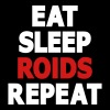 Eat, Sleep, Roids, Repeat Text (2 Color) - Women's V-Neck T-Shirt