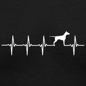 Doberman - Heartbeat - Women's V-Neck T-Shirt