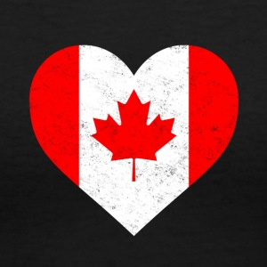Canada Flag Shirt Heart - Canadian Shirt - Women's V-Neck T-Shirt