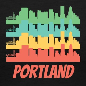 Retro Portland OR Skyline Pop Art - Women's V-Neck T-Shirt