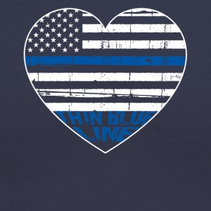 POLICE THIN BLUE LINE HEARTBEAT - Women's V-Neck T-Shirt