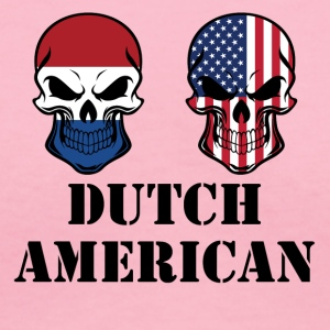 Dutch American Flag Skulls - Women's V-Neck T-Shirt