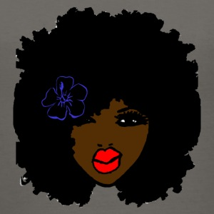Brown skin CurlyAfro NaturalHair Flower Red Lips - Women's V-Neck T-Shirt