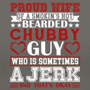 PROUD WIFE OF BEARDED CHUBBY GUY SHIRT - Women's V-Neck T-Shirt