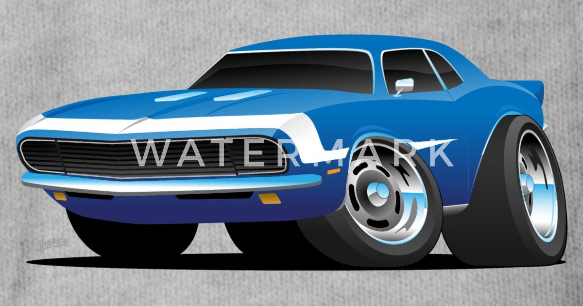Classic Sixties Muscle Car Hot Rod Cartoon Organic Short Sleeved