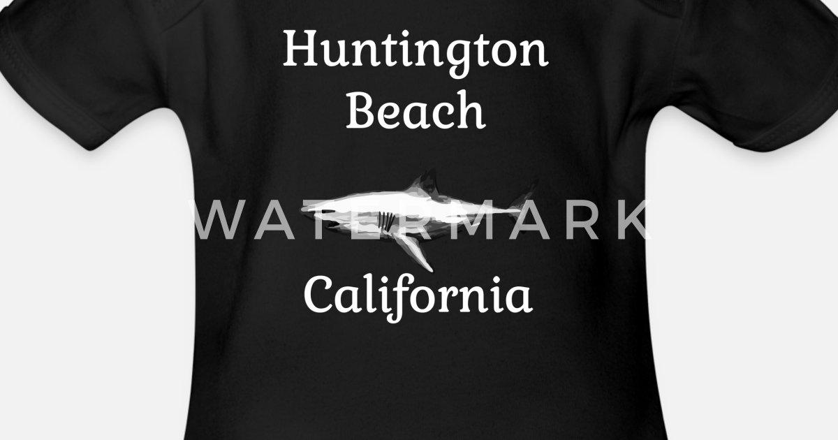 Huntington Beach California White Shark Organic Short-Sleeved Baby Bodysuit  | Spreadshirt