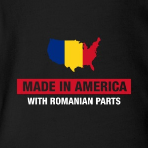 Made In America With Romanian Parts Romania Flag - Short Sleeve Baby Bodysuit