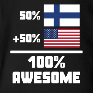 50% Finnish 50% American 100% Awesome Funny Flag - Short Sleeve Baby Bodysuit