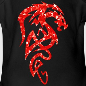 tribal red dreaming dragon - Short Sleeve Baby Bodysuit