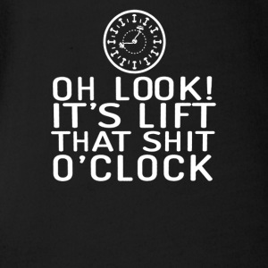 Oh Look It s Lift That Shit clock - Short Sleeve Baby Bodysuit