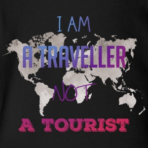 I am a traveller not a tourist - Short Sleeve Baby Bodysuit